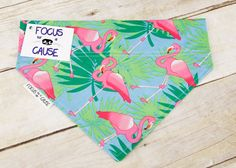 Flamingos Dog Bandana, Slip Over the Collar Dog Bandana, Slide Over Collar, Pet Scarf, Summer Collar Accessory Focus for a Cause by FocusforaCause on Etsy