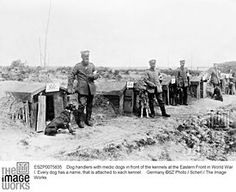Dog handlers with medic dogs in front of the kennels at the Eastern Front in World War I. Every dog has a name, that is attached to each kennel.    Germany ©SZ Photo / Scherl / The Image Works