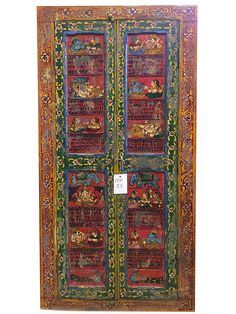 Indian Doors Ganesha Krishna Mantra Red Vintage Antique Doors Yoga Decor
