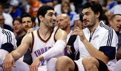 Oklahoma City's Enes Kanter (34) and Steven Adams (12) sit out the final seconds on the bench as the Oklahoma City Thunder defeat the Minnesota Timberwolves 113-99 in NBA basketball at the Chesapeake Energy Arena in Oklahoma City, on Friday, March 13, 2015.  Photo by Steve Sisney, The Oklahoman