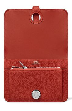 Hermes - Dogon Wallet/Purse in Vermilion Red Leather. Open Inside View.