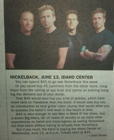 Nickelback article joke