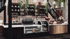 The Sims 4 Lots, Sims Building, Paris, Liquor Cabinet, Interior Design, Kitchen, Interiors, Dessert, Furniture