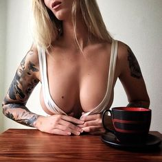 PERFECT SPORTY CLEAVAGE of sexy tattooed Instagram & #Fitness model Natasha Thomsen of Denmark : Health, Exercise & #Fitspiration - the best #Inspirational & #Motivational Pins by: http://cagecult.com/mma