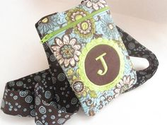 Women's Small Clutch Bag Passport Purse Quilted Monogrammed Custom Personalized teal brown green
