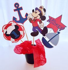 5 Piece Nautical Mickey Mouse Centerpiece, Mickey Mouse Centerpiece, Mickey Mouse Birthday Decor, Sailboat, Nautical Birthday, Cake Topper by LuluBellaCreations on Etsy