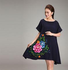 Tamaño grande pintado a mano de estilo chino ropa nueva 2014 gasa del verano de una sola pieza vestido de tamaño grande floja pintura de la mano xxxxl xxxxxxl en Vestidos de Moda y Complementos Mujer en AliExpress.com | Alibaba Group