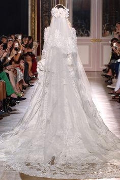 zuhair murad fall 2012 couture wedding dress - lace long sleeves train - seems vintage