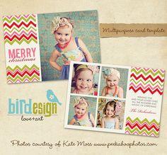 PSD Holiday Card Template  Colorful Joy  E170 by birdesign on Etsy, $8.00