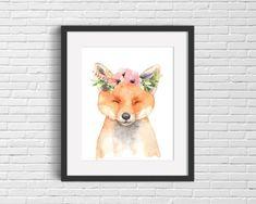 pretty fox, floral fox nursery, fox nursery sign, baby fox poster, printable fox poster, floral fox print, fox themed nursery by DazzlePrintsStudio Fox Themed Nursery, Woodland Baby Nursery, Fox Nursery, Forest Nursery, Baby Nursery Themes, Woodland Theme, Nursery Signs, Watercolor Animals, Watercolor Print