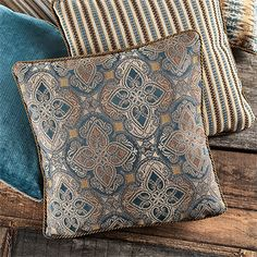 TANGIER SQUARE MOSAIC PILLOW WITH STRIPED BACK