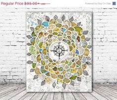 ON SALE 20% OFF Wanderbloom - Stretched Canvas print, compass rose canvas print, wanderlust art