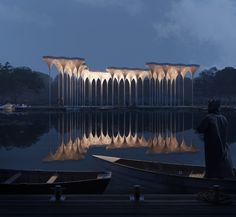 ELYTRA PAVILLION on Behance Pavilion Architecture, Landscape Architecture Design, Architecture Visualization, Concept Architecture, Interior Architecture, Pavillion Design, Parque Industrial, Facade Lighting, Public Art