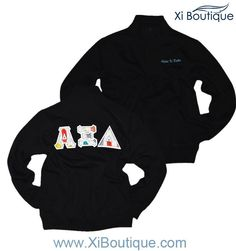 Xi Boutique FEATURED! Black Feather Letter Quarter Zip--the new classic