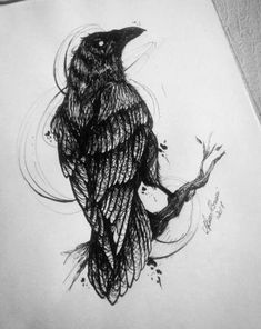 ideas illustration of birds sketches sketches , Sketch Pen Drawing, Bird Sketch, Tattoo Sketches, Tattoo Drawings, Body Art Tattoos, Art Sketches, Drawing Ideas, Crow Tattoos, Phoenix Tattoos