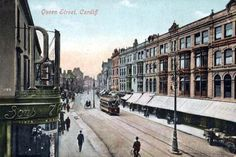Old Postcard, Queen Street, Cardiff Cardiff Wales, Cardiff City, Old Pictures, Old Photos, Vintage Postcards, Vintage Photos, Past Papers, Cymru, Famous Places