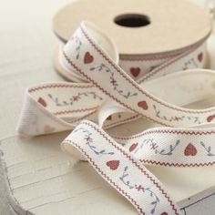 Fabric Ribbon-Hearts & Leaves