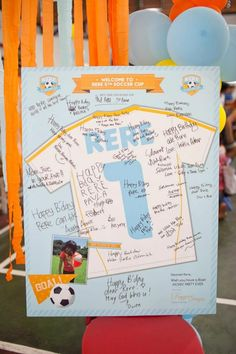 Cute sign in card at a Girl Soccer Party via Kara's Party Ideas | Kara'sPartyIdeas.com #Girl #Soccer #Party #Ideas #Supplies