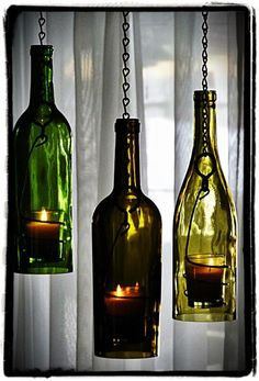 Bing : wine bottle crafts with lights  I also like using the rounds from the bottoms for a stained glass project.