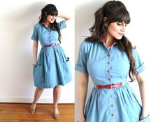 60s Dress / 1960s 50s Dress / Blue Chambray 50s Full Skirt Country Dress by Coldfish on Etsy https://www.etsy.com/listing/270828259/60s-dress-1960s-50s-dress-blue-chambray