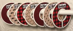 7 Custom Baby Closet Clothes Dividers Red Black Buffalo Plaid Deer Bear Tan Rustic Woodland Nursery CD801 Baby Bedding Baby Shower Gift