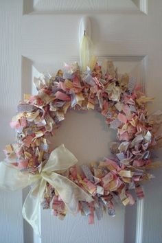 Pastel Fabric Rag Wreath  $25.00