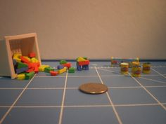 Miniature basket of foam blocks and play-doh.