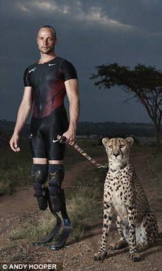 Man Superman Gunman | Oscar Pistorius squares up to Anthony the cheetah in Pretoria. Oscar allegedly shot and killed his girlfriend, Reeva Steenkamp, at his Pretoria home on Valentine's Day 2013. Photo: Andy Hooper