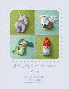 Mini Felt Mythical Creatures plush PDF pattern SET 1