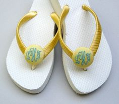 Yellow Satin Wrapped Flip Flops for the bridal party at a beach wedding ~ one of my very favorite color combinations!