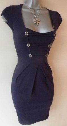 14c839c3de39e Navy pencil wiggle military bodycon Jane Norman stretchy dress party 6 8  http
