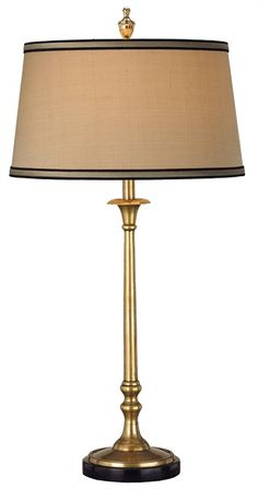 Currey and Co- pair of lamps for console PRODUCT NAME: Suitor Table Lamp DIMENSIONS: 28h x 14w NUMBER OF LIGHTS: 1 SHADES: Antique Gold Shantung 12x14x8 MATERIAL: Brass/ Granite FINISH: Antique Brass/Black WATTAGE PER LIGHT: 150 TOTAL WATTAGE: 150 BULB TYPE: Edison FREIGHT INFORMATION: FedEx/UPS ITEM WT: 8 PKG WT: 14