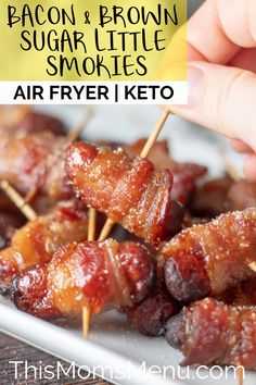 These Bacon and Brown Sugar Little Smokies make the perfect addition to any appetizer spread with their perfect balance of sweet and salty. They can be made in no time at all by using an air fryer Air Fryer Recipes Chips, Air Fryer Recipes Appetizers, Air Fryer Recipes Low Carb, Air Fryer Recipes Breakfast, Air Frier Recipes, Air Fryer Dinner Recipes, Low Carb Appetizers, Party Appetizers, Breakfast Dishes