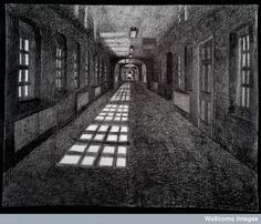 Credit: Wellcome Library, London   A corridor in High Royds Hospital, Menston, Ilkley, Yorkshire, late a Victorian lunatic asylum.