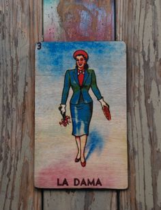 La Dama Mexican Loteria Art Decor By Valazozartandvintage On Etsy 20 00