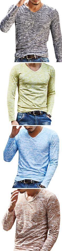 US$9.85 Mens Solid Color Casual Long-Sleeved V-Neck T-shirt