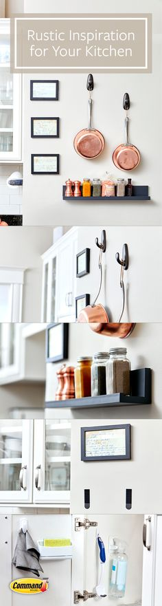 Copper accents and framed family recipes double as artwork in the kitchen with Command™ Hooks and Picture Ledges. Cozy Kitchen, Kitchen Ideas, Kitchen Organization, Organization Hacks, Command Products, Picture Ledge, Command Hooks, Copper Accents, How To Double A Recipe