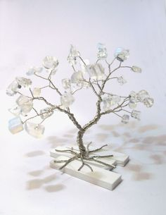 wire tree moonstone gemstone silver plated copper by WireMyTree, $17.00