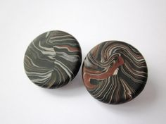 Clip on earrings round clip ons black and brown clip by Lagneys