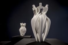 Available for sale from bitforms gallery, Addie Wagenknecht, Untitled (Vase No. printed nylon (PA 19 × 10 × 11 in Art Nouveau, Scaring People, Creators Project, Take Action, Sculpture, War Machine, 3d Design, 3 D, 3d Printing