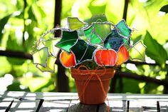 Stained Glass Suncatcher Decorative Orange Pumpkin Patch,Gardener Gift, 3d, Home Decor, Decorative Art