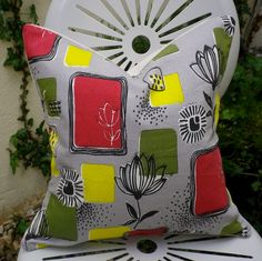 Vintage 1950s Screen Printed Atomic Botanical Fabric Cushion Pillow. £18.00, via Etsy.