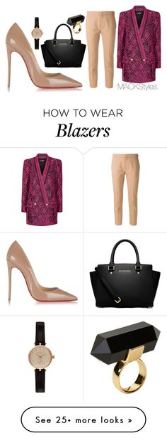 """Black Selma"" by jevonmack on Polyvore featuring Balmain, Chloé, Christian Louboutin, Monki, Barbour and MICHAEL Michael Kors"