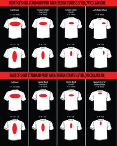 Sizing Chart Infographic For Determining The Size Of The Design - Custom vinyl decals for tee shirts
