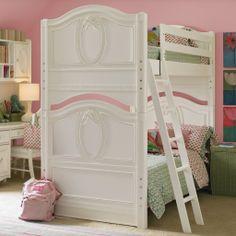 Unique Girls Bunk Beds for Your Kids: Modern Girl Bunk Beds White Kids Desk Pink Wall ~ str33t.net Bedroom Designs Inspiration
