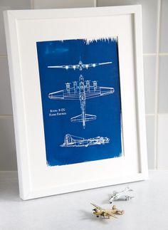 A4 Hand coated traditionally made aeronautical Blueprint cyanotype Boeing B-17G. £20.50, via Etsy.