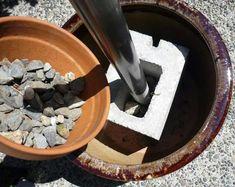 Charming Pot, Cinder Blocks, PVC Pipe, Rocks, U0026 Soil U003d Potted Umbrella Stand. Outdoor  ...