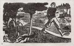 Axl Leskoschek, O passeio, ilustra+º+úo para ÔÇ£Romanceiro BrasileiroÔÇØde Ulrich Becher, xilogravura, 18 x 26 cm