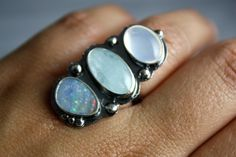 ❥ Aquamarine, Black Opal, Mexican Fire Opal, Sterling Siver, Multi Stone, Cocktail Ring... Aphrodite....