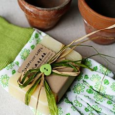 Gardeners Soap Creatively Packaged With Gardening Gloves by pigeonriversoaps
